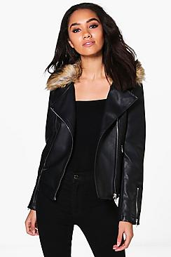 Petite Sofia Faux Fur Colour PU Jacket
