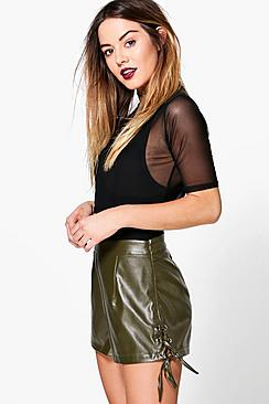Petite Brooke Lace Up Detail PU Short