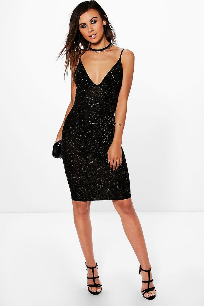 Petite Georgia Strappy Backless Glitter Midi Dress