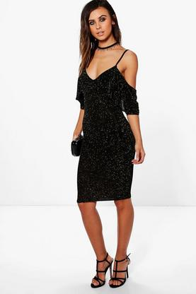 Petite Amelia Glitter Cold Shoulder Bodycon Dress