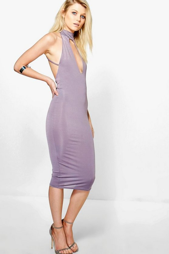 Petite Charlotte Choker Strap Back Bodycon Dress