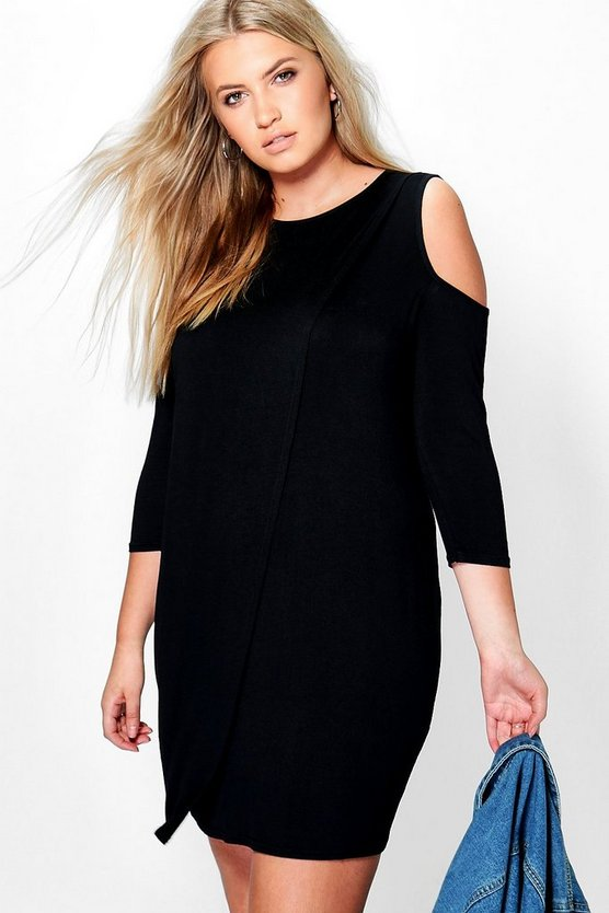 Plus Laurie 3/4 Sleeve Cold Shoulder Wrap Dress