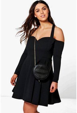 Plus Nora Bardot Strap Skater Dress