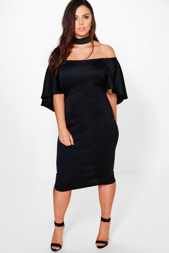 Plus Choker Detail Drape Sleeve Midi Dress