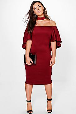 Plus Emma Choker Detail Drape Sleeve Midi Dress