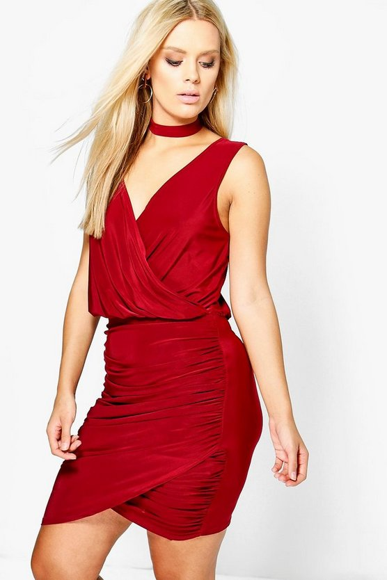 Plus Leah Choker Wrap Detail Bodycon Dress