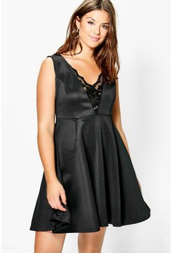 Plus Abigail Lace Wrap Plunge Skater Dress