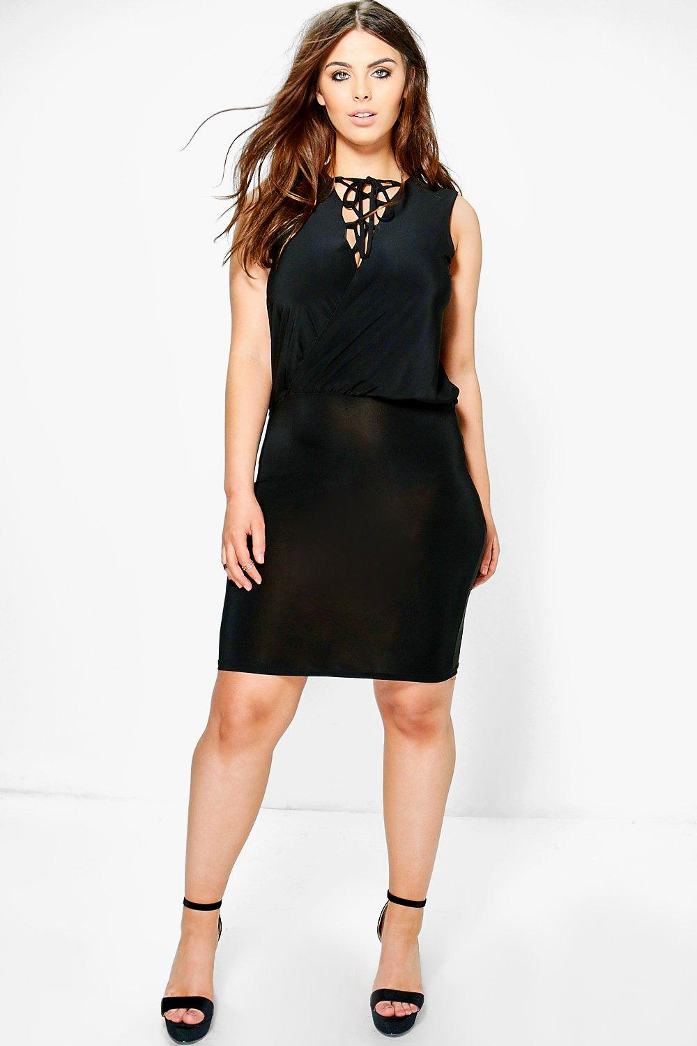 Plus Claire Lace Up Wrap Front Midi Dress