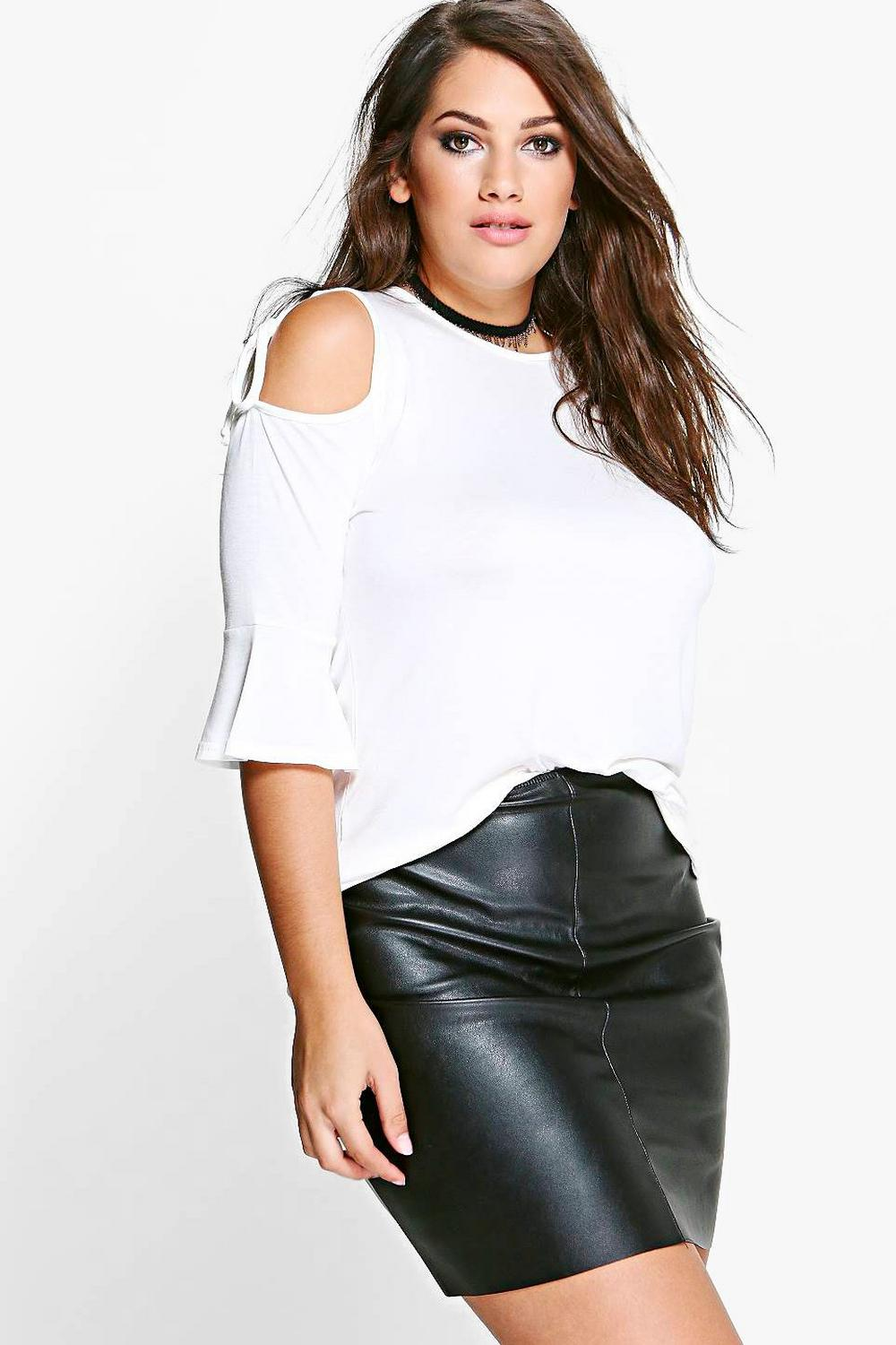 Plus Alison Cut Out Shoulder Tie Detail Top