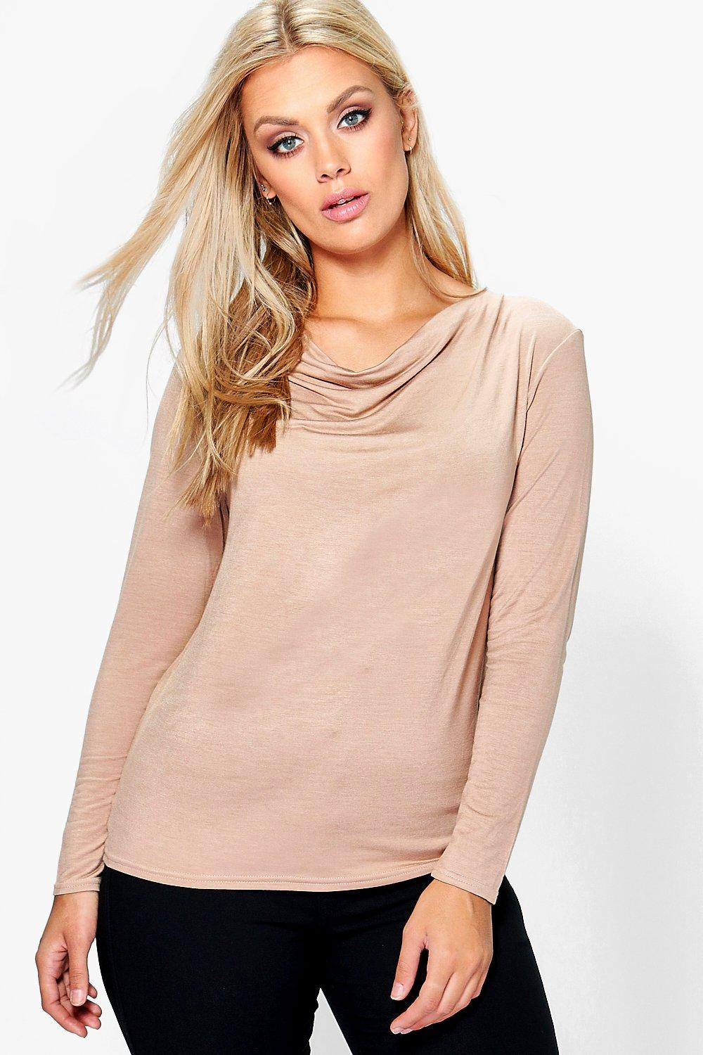 Plus Elizabeth High Neck Cowl Top