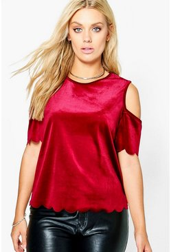 Plus Taylor Scallop Sleeve And Hem Velvet Top