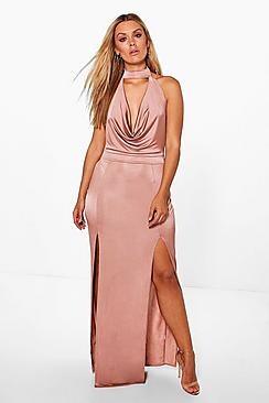 Plus Harper Cowl Choker Maxi Dress