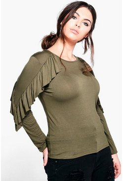 Plus Maya Frill Long Sleeve Top