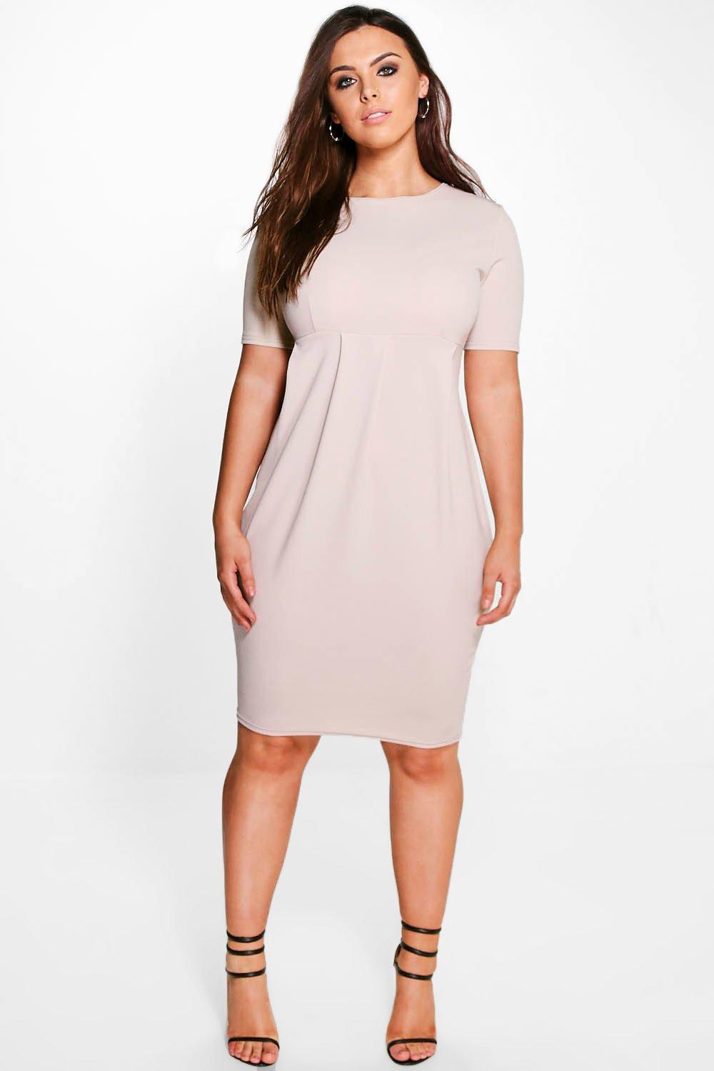 Plus Kaylee Crepe Plunge Neck Wiggle Dress