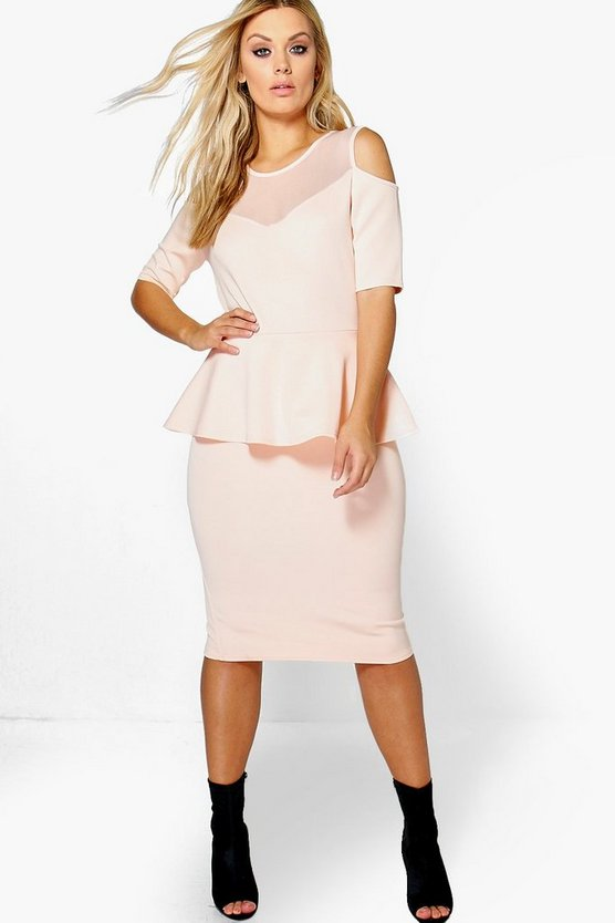 Plus Maria Mesh Insert Peplum Dress