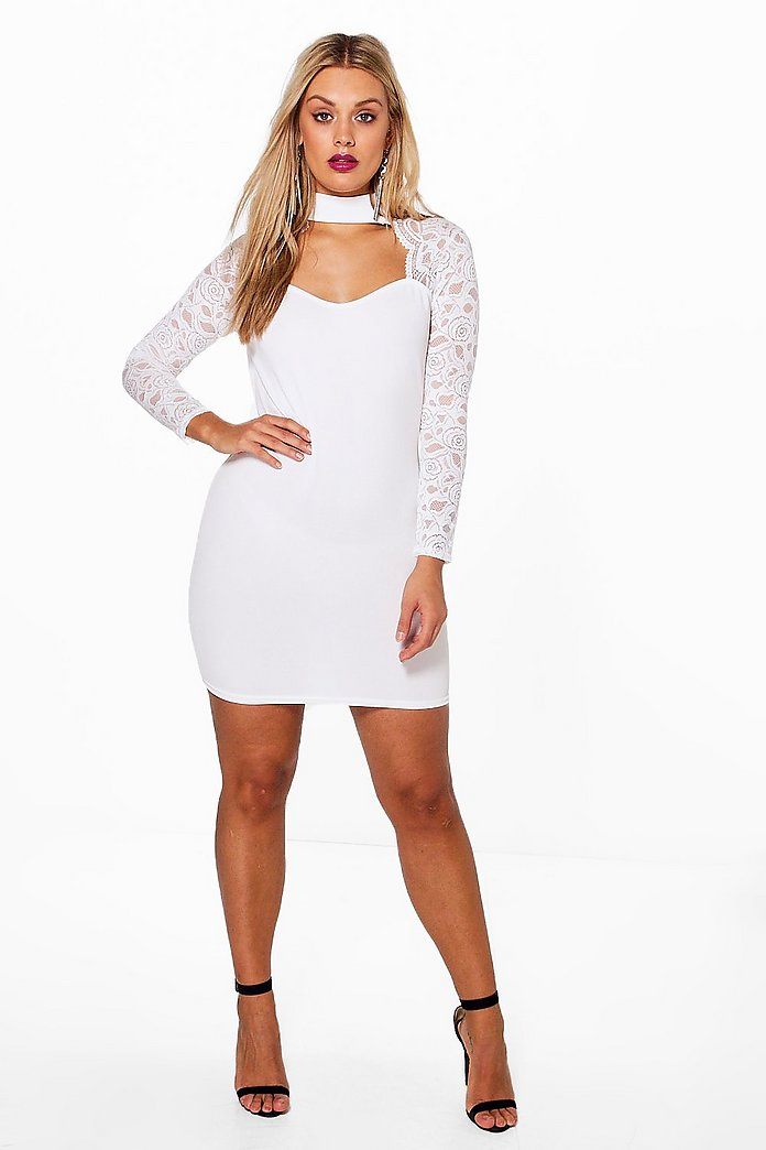 Plus Mila Lace Choker Long Sleeve Midi Dress