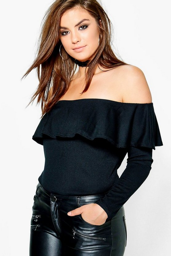 Plus Lily Ruffle Of Shoulder Ribbed Top