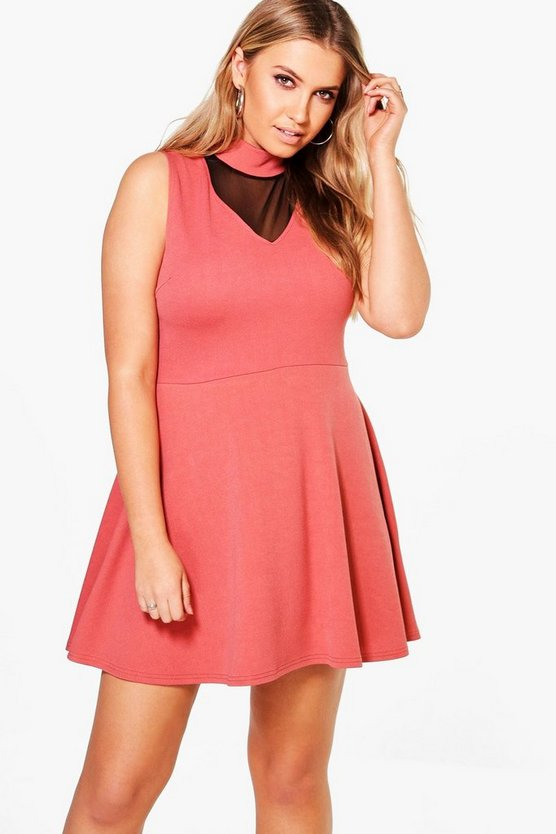 Plus Lucy Crepe Choker Skater Dress