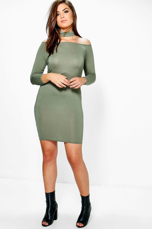 Poppy Off Shoulder Choker Midi Dress - khaki