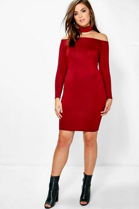 Plus Poppy Off Shoulder Choker Midi Dress