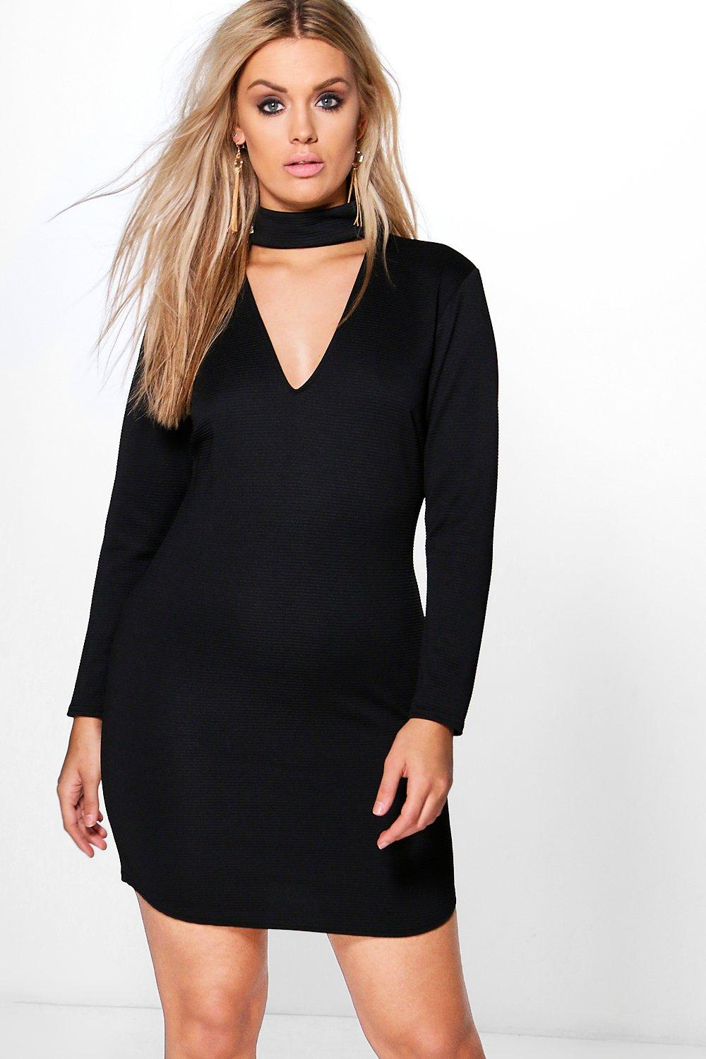 Plus Lydia Choker Curved Hem Rib Bodycon Dress