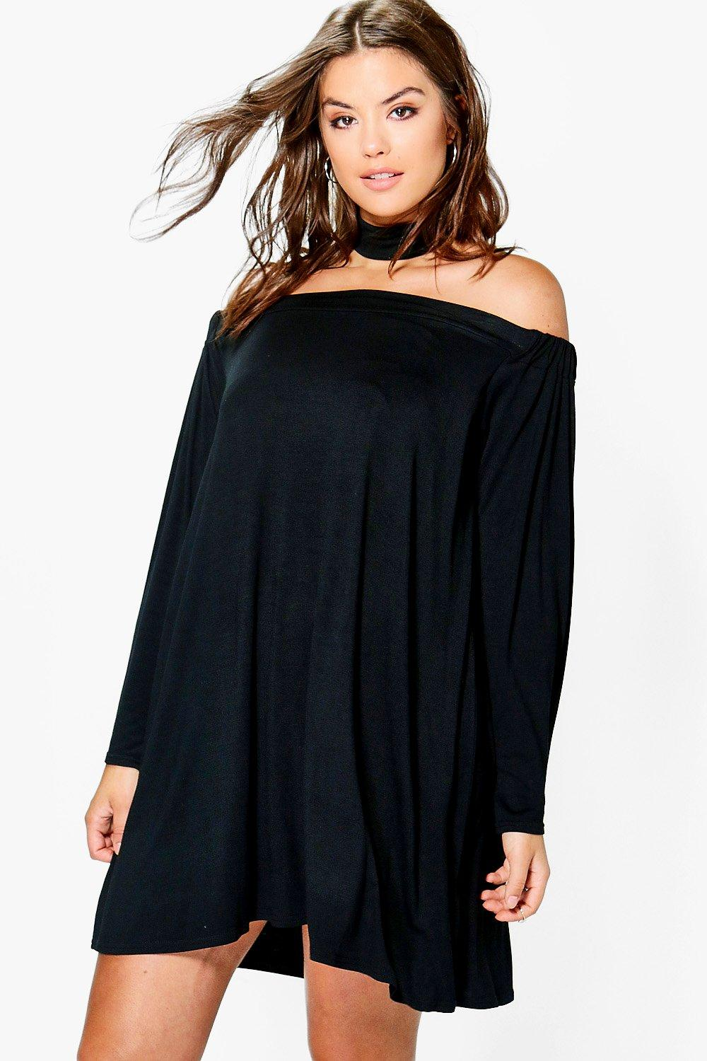 Plus Anna Off Shoulder Choker Swing Dress