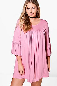 Plus Phoebe Ruffle Sleeve Swing Dress