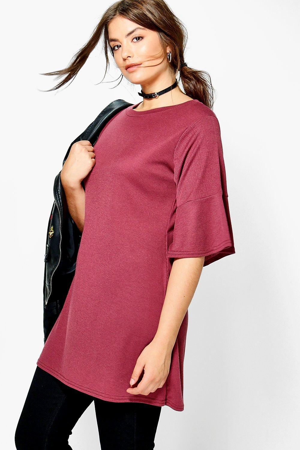 Plus Matilda Ribbed Ruffle Sleeve Shift Dress