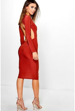 Petite Georgia Long Sleeve Backless Midi Dress