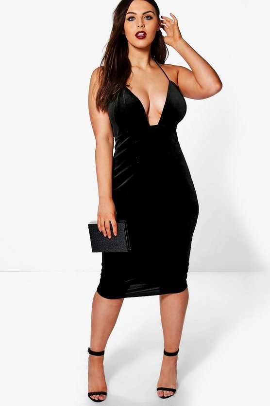 Plus Leonie Velvet Strappy Slip Dress