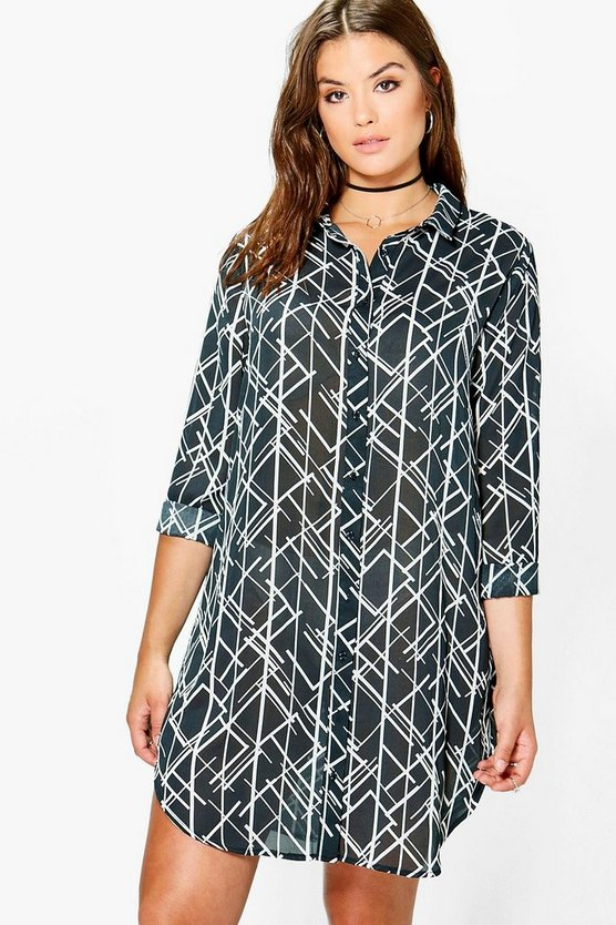 Plus April Grid Print Shirt Dress