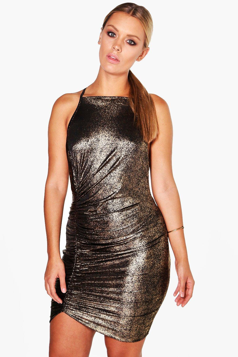 Plus Kirstie Shimmer Ruched Strappy Dress