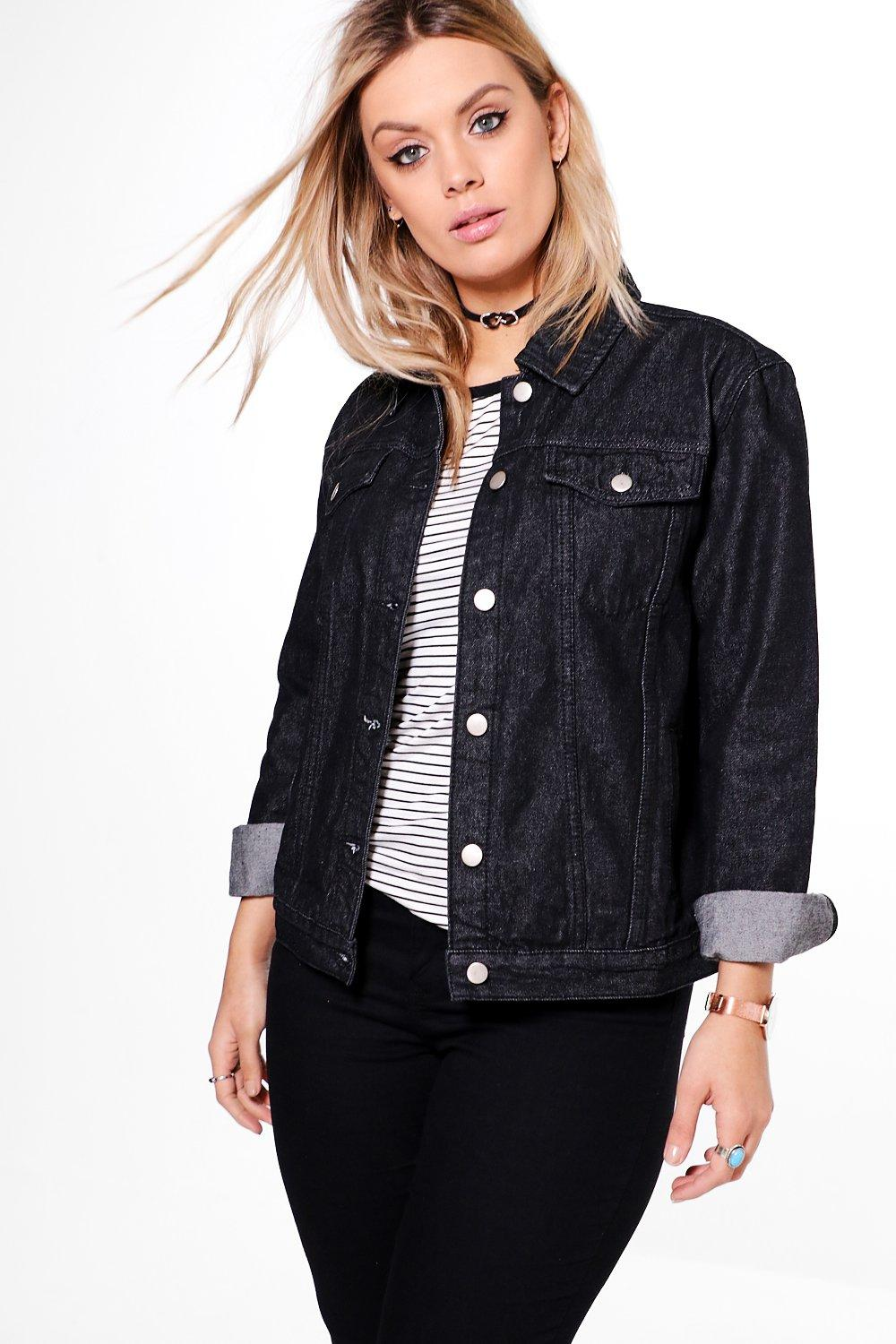 Plus Paula Washed Charcoal Denim Jacket