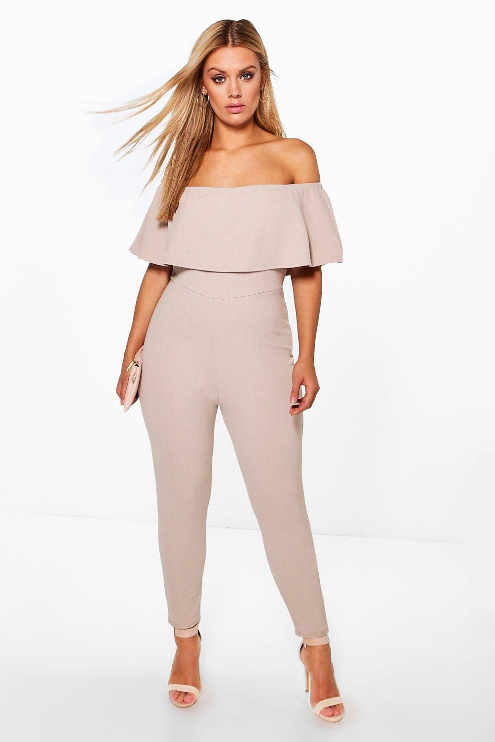 Plus Nicole Off The Shoulder Ruffle Jumpsuit
