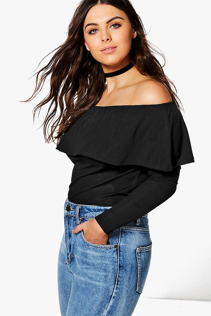 Plus Caroline Off Shoulder Ruffle Silky Ribbed Top