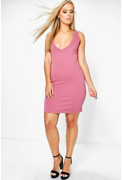 Plus Imogen Plunge Neck Bodycon Dress
