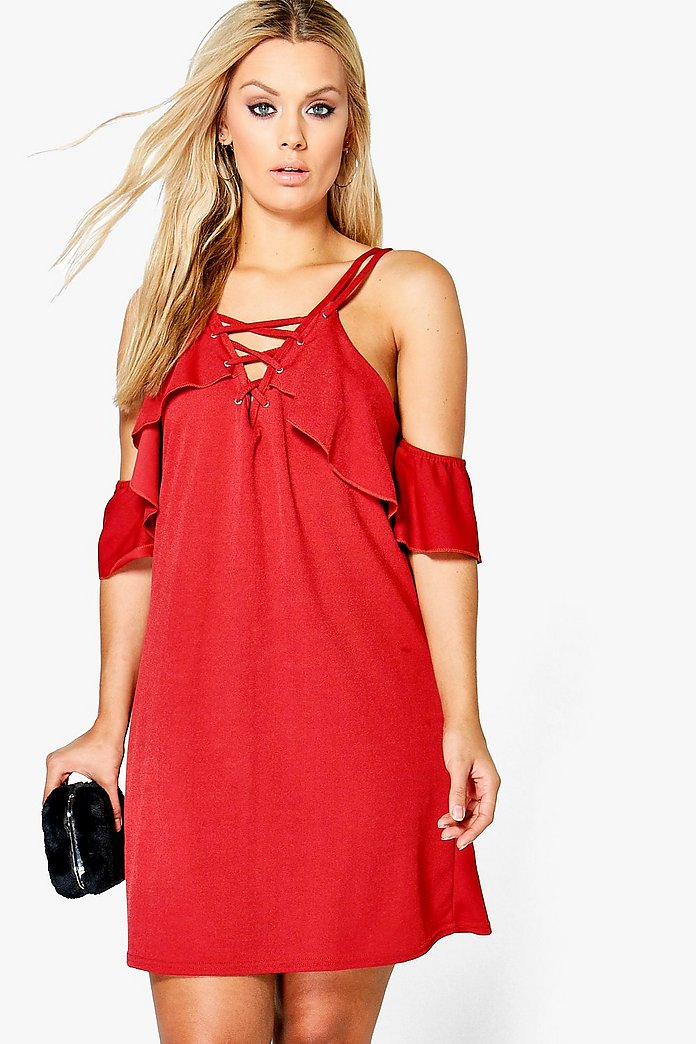 Plus Julia Lace Up Ruffle Cold Shoulder Swing Dress