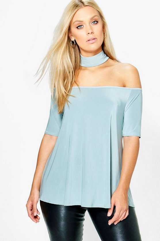 Plus Ava Slinky Open Shoulder Top