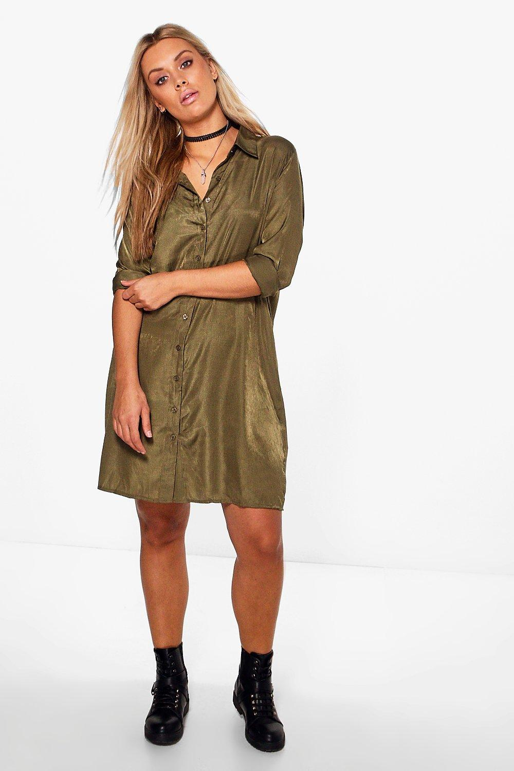 Anna Woven Shirt Dress  khaki