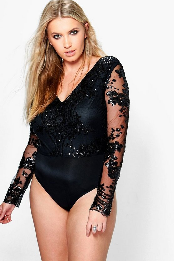 Plus Paige Sequin Mesh Bodysuit