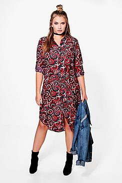 Plus Erin Paisley Longline Shirt Dress