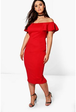 Plus Saskia Ruffle Midi Dress