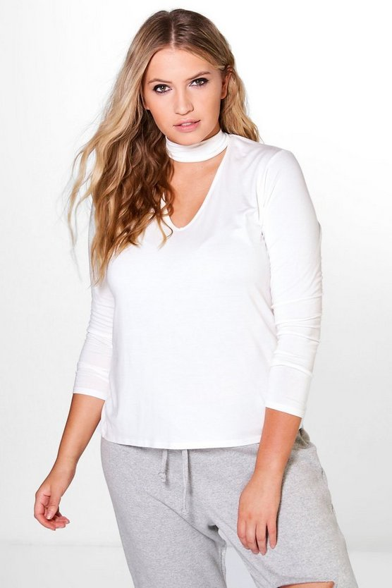 Plus Amelia Basic Choker Long Sleeved Tee