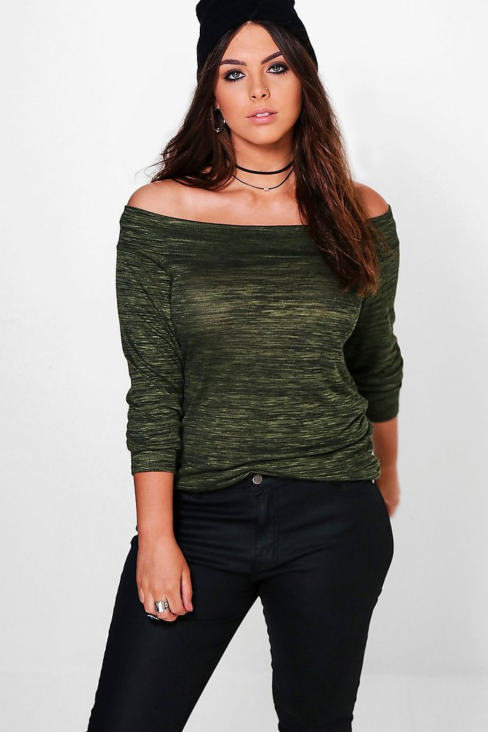 Plus Sara Bardot Long Sleeve Top