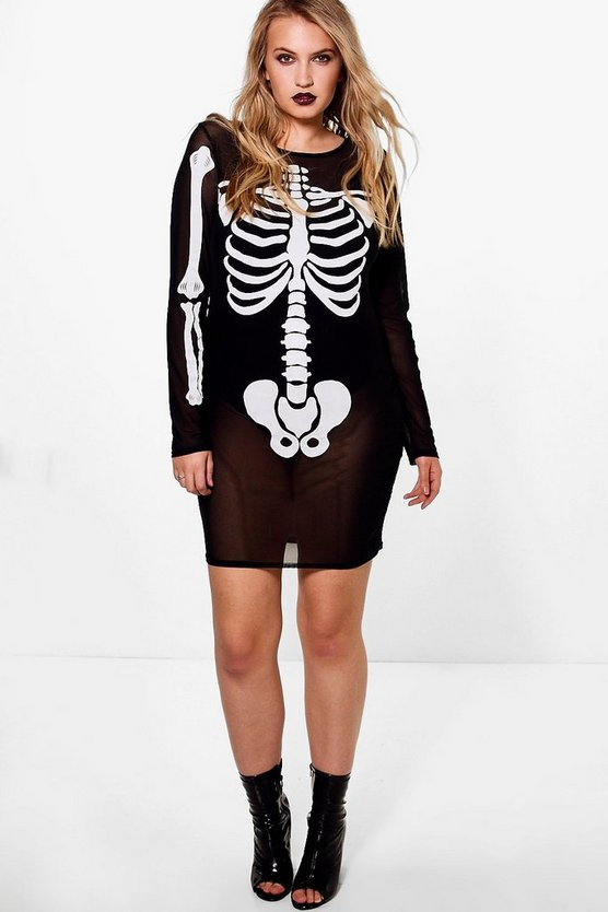 Plus Sophia Mesh Skeleton Print Halloween Bodycon
