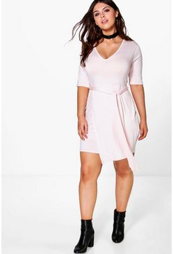 Plus Harriet V-neck Tie Front Shift Dress