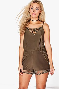 Plus Isabelle Lace Insert Slinky Playsuit