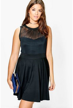 Plus Hannah Mesh Sweetheart Neck Skater Dress