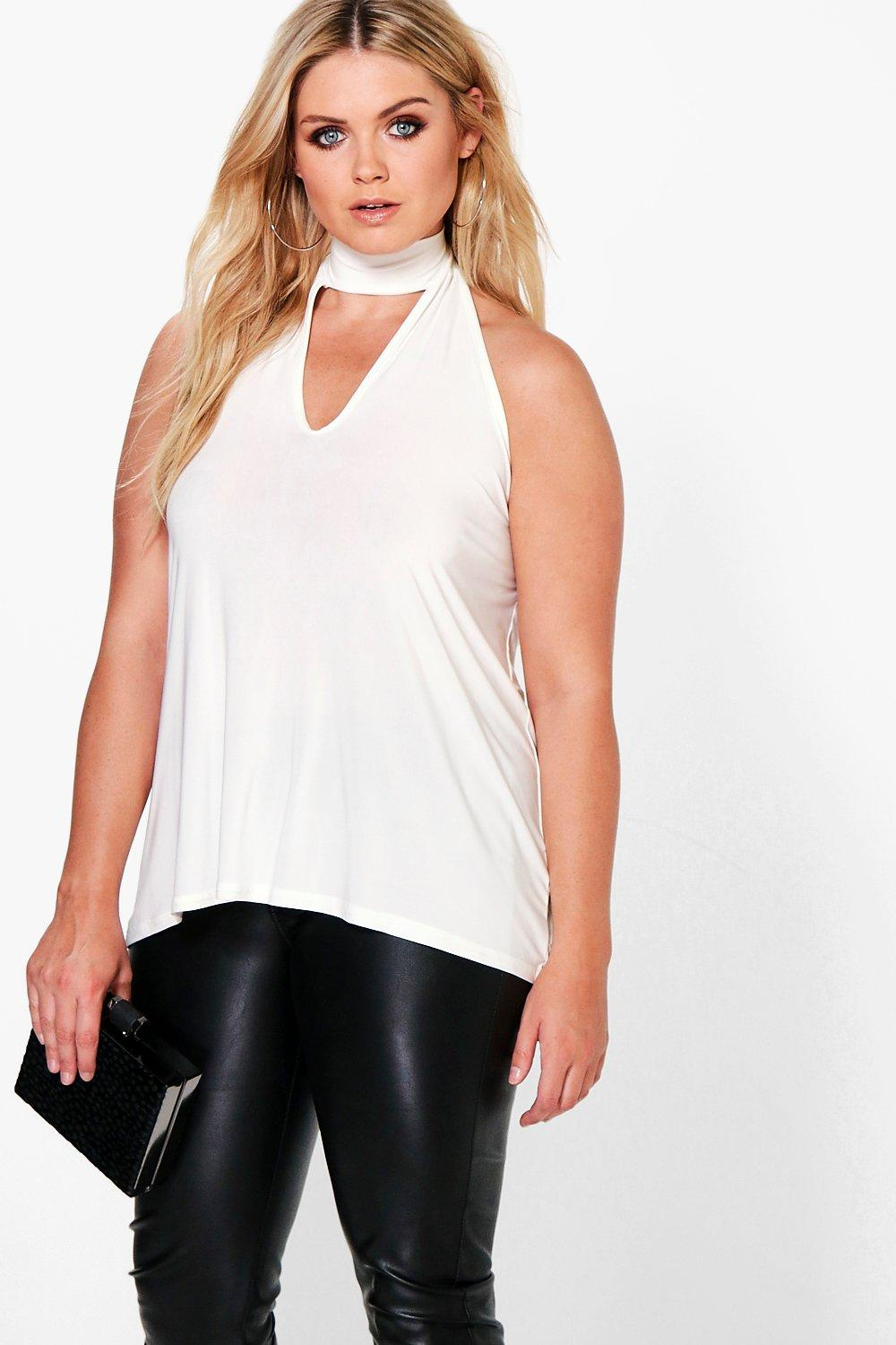 Plus Monica High Neck Plunge top
