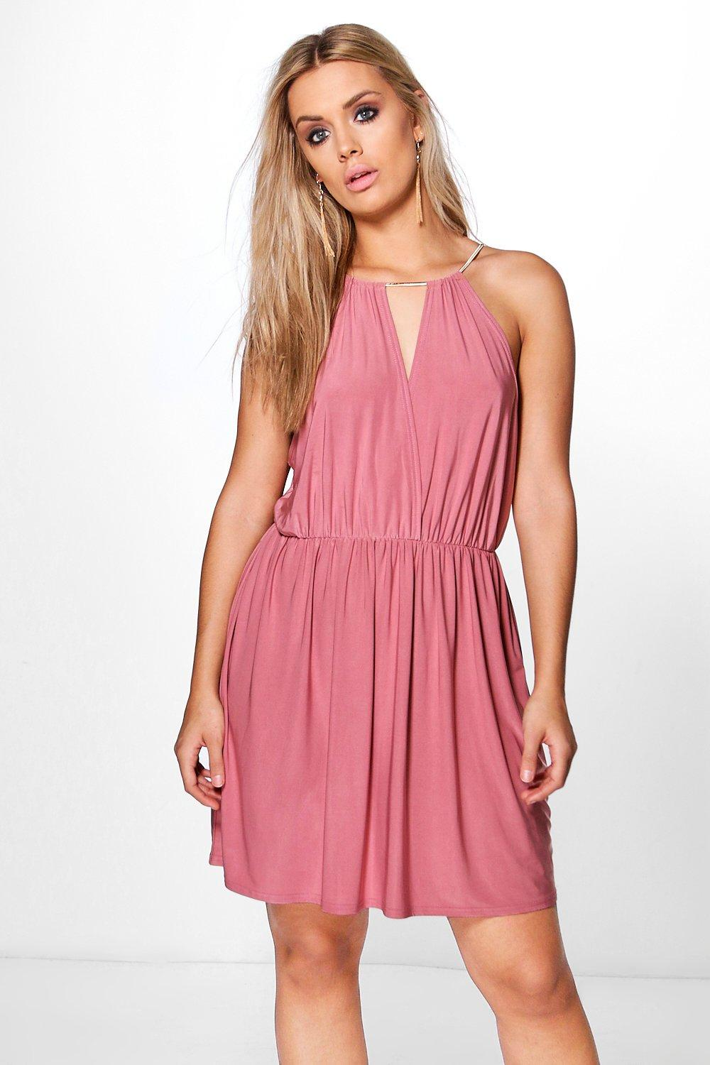 Plus Esme Chain Trim Wrap Skater Dress